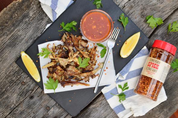 """Vegan Oyster Mushrooms """"Chicken"""" With Sweet Chili Sauice 