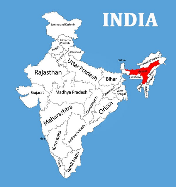 Map of India, where Ghost Peppers originated from.