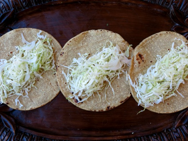 cabbage on tortillas