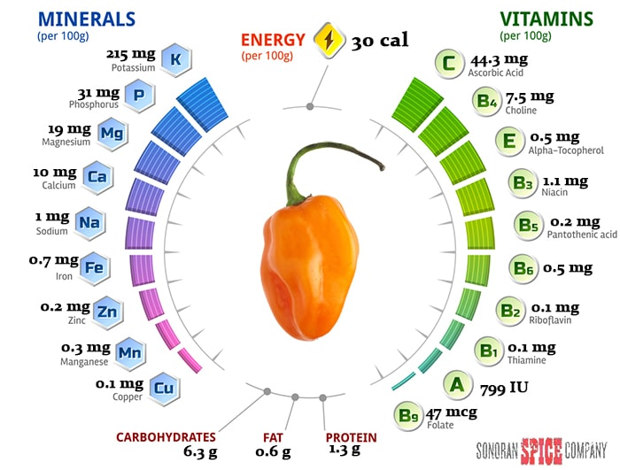 Habanero Pepper Vitamin and Nutrition Per 100 grams