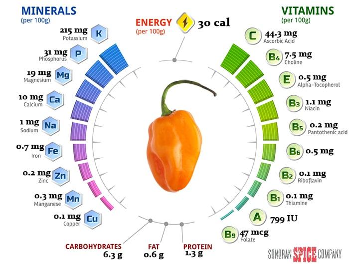 Habanero Pepper Vitamin and Nutrition Per 100 grams