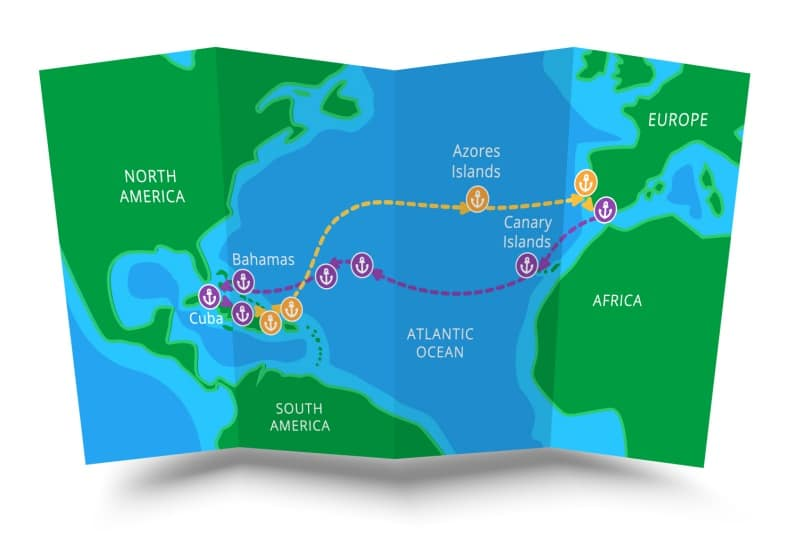 Map of the voyage of Christopher Columbus