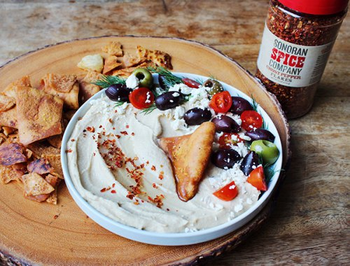 Mediterranean Hummus Plate With Sonoran Spice Ghost Pepper Flakes