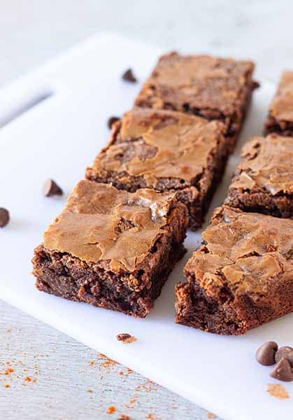 Brownies with sprinkle of Cayenne Powder