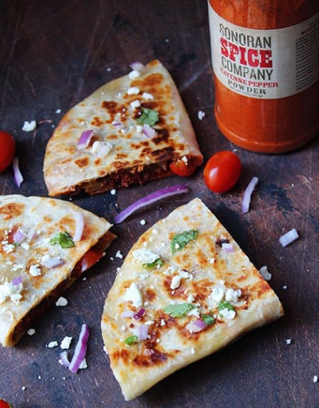 Cayenne Pepper Turnkey and Cheese Quesadillas